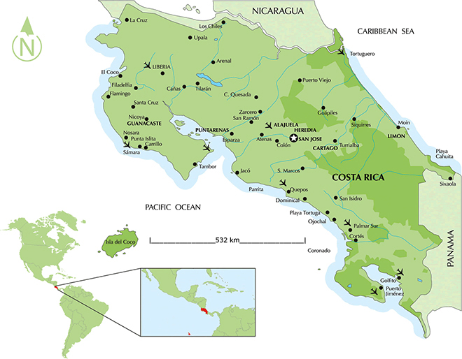 Costa Rica Map Map Of Costa Rica Costa Rica Travel Guide And - Map of costa rica world